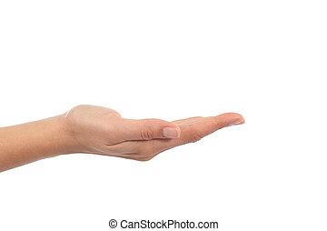 Woman hand with palm up in a white isolated background