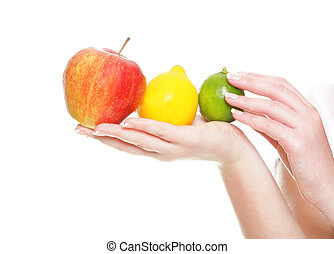 Woman hand with red apple fruits isolated