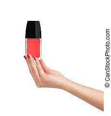 Woman hand with red nail polish isolated on white