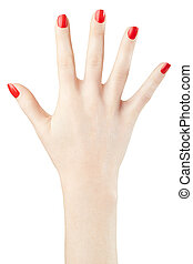 Woman hand with red nail polish