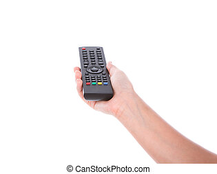 Woman hand with remote control isolated on white background