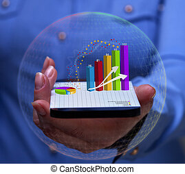 Woman hand with smartphone and charts