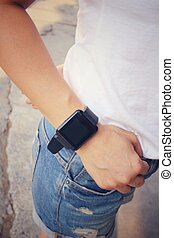Woman hand with smartwatch