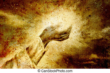 woman hand with spiritual mystic light, painting collage. Sepia effect.
