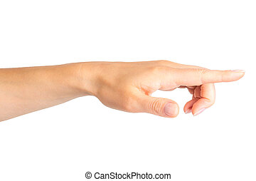 Woman hand with the index finger pointing on side