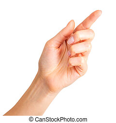 Woman hand with the index finger pointing up