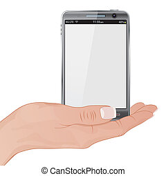 Woman Hand with the Smart Phone - Woman Hand Holding Smart...