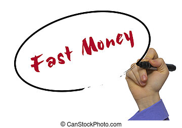 Woman Hand Writing Fast Money on blank transparent board with a marker isolated over white background. Business concept.