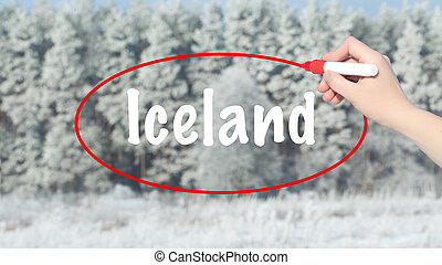 Woman Hand Writing Iceland with a marker over winter forest.