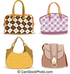 Woman Handbag Collection - cartoon illustration of woman...