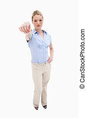 Woman handing over key