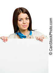 Woman handing sheet of paper copyspace