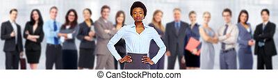woman., handlowy, afrykańska-amerikanka