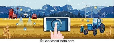 Woman hands controlling wireless farm field from phone