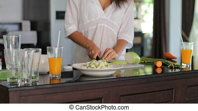 Woman Hands Cutting Vegetables Closeup, Female Cooking Meal...