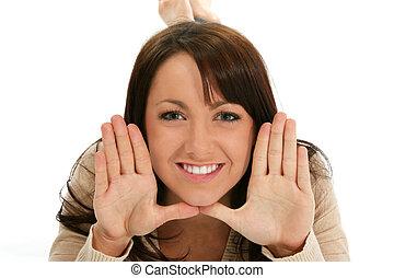Woman Hands Face