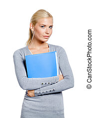 Woman hands folder with documents - Woman in grey sweater...
