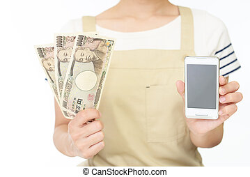 Woman hands hold money