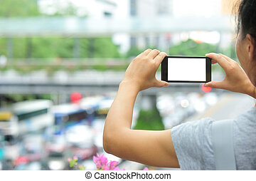 woman hands hold smart phone