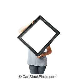 Woman hands holding black crooked empty frame