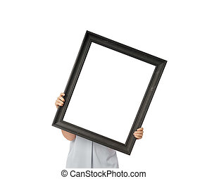 Woman hands holding black empty frame