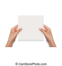 Woman Hands Holding Blank Card Isolated on White Mockup Template