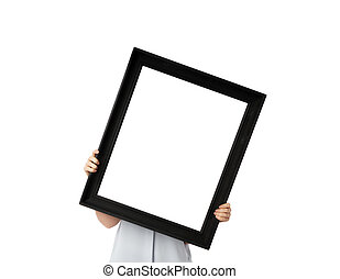 Woman hands holds black empty frame