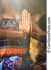 woman hands in namaste gesture practice yoga outdoor day...