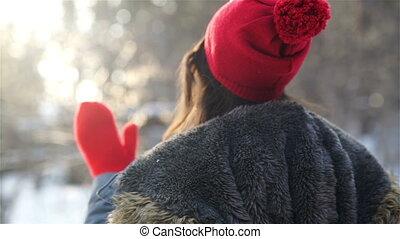 Woman hands in winter gloves