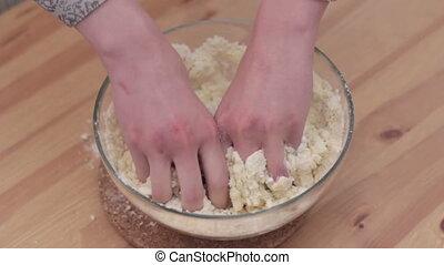 Woman hands knead dough Full HD