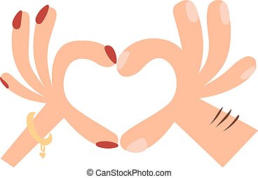 Woman hands making a heart shape sign cartoon flat romantic gesture vector illustration.