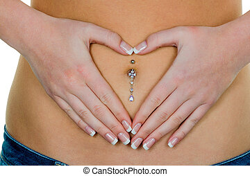 woman hands on stomach - a woman has abdominal pain or...