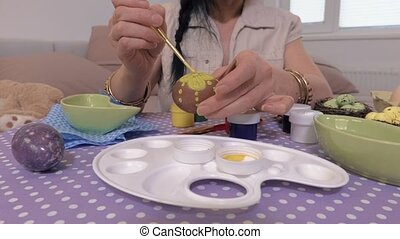 Woman hands painting Easter eggs