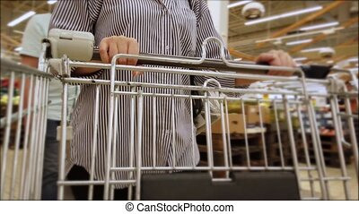 Woman hands push empty metal cart in supermarket. Shopping in grocery store.