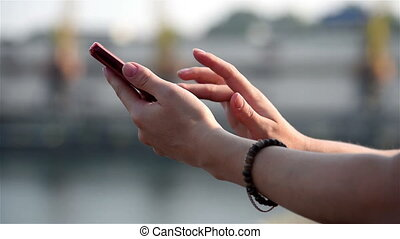 Hands Typing Sms On Phone - Woman Hands Typing Sms On Phone...