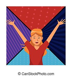 woman hands up smiling colorful background vector...