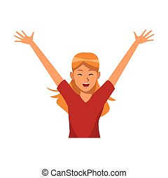 woman hands up smiling vector illustration graphic design