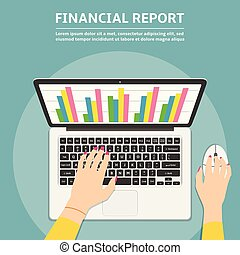 Woman hands using laptop with financial report graph on monitor. Flat design illustration.