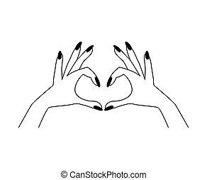 Woman hands. Vector illustration. Line art.