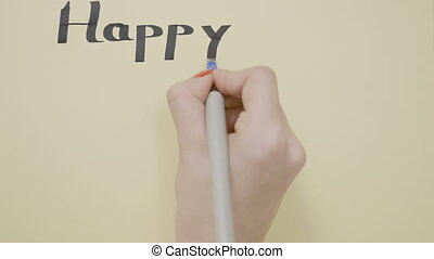 Woman hands whishing happy new year on a greeting card with...