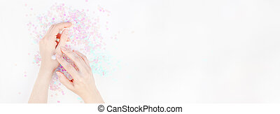 Woman hands with cream on white pearl background