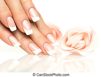 Woman hands with french manicure close-up - Woman hands with...