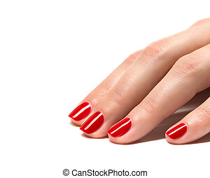 Woman hands with manicured red nails closeup. Skin and nail...