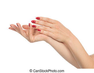 Woman hands with manicured red nails