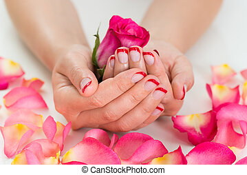 Woman Hands With Nail Varnish Holding Rose