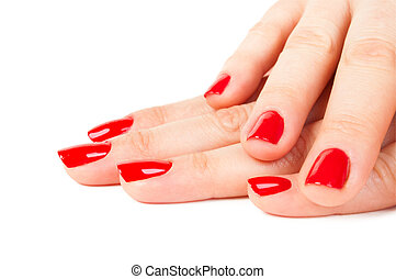 woman hands with red nails against