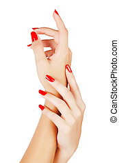 woman hands with red nails - closeup of hands of a young ...