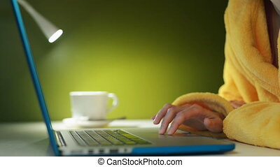 Woman hands working with a laptop