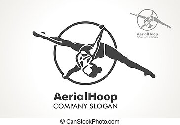 Woman hanging in aerial ring, isolated on white. Aerial hoop line art. Dance and fitness. Dance Studio. Sport. Vector Illustration. Logo.