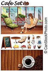 Woman hanging out in the cafe illustration